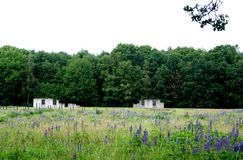 Remains of barracks in Westerbork transit camp Stock Photo
