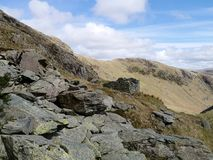 Remains of bothy at the head of Dovedale valley, Lake District Stock Photos