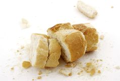 Remains of bread. On a white background royalty free stock images