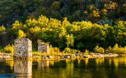 Remains of a bridge in the Shenandoah River, in Harper's Ferry, Royalty Free Stock Photos