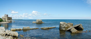 The remains of bunkers on the beach Stock Photography