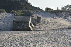 Bunkers on the beach Royalty Free Stock Photos