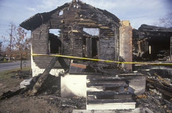 Remains of a burned down house Stock Photography