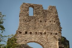 Castle Wall. Remains of a Castle Wall standing tall stock image