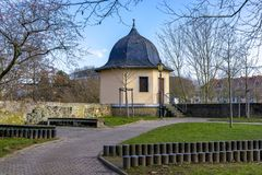 Remains of the city wall of Bad Kreuznach City in Germany with B. Utterfass butter barrel tower Royalty Free Stock Images