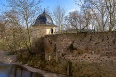 Remains of the city wall of Bad Kreuznach City in Germany with B. Utterfass butter barrel tower Stock Photos