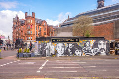 The remains of the Clutha Bar, Glasgow. Stan Laurel, mural at the remains of the Clutha Bar, Glasgow stock images
