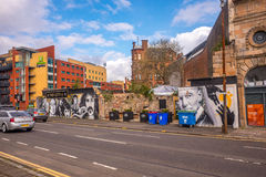 The remains of the Clutha Bar, Glasgow. Stan Laurel, mural at the remains of the Clutha Bar, Glasgow stock photo