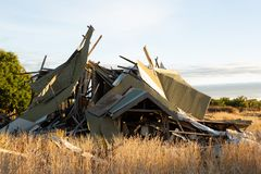 Remains of a collapsed house Royalty Free Stock Images