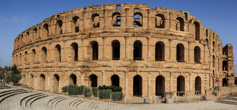 Remains of the colosseum in El Jem royalty free stock photo