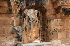 Remains of the colosseum in El Jem Royalty Free Stock Photography
