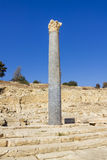 Remains of Column with Chapiter in the Ruins of the Ancient City. On Cyprus Royalty Free Stock Image