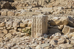 Remains of Column in the Ruins of the Ancient City Royalty Free Stock Photos