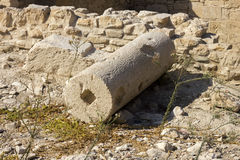 Remains of Column in the Ruins of the Ancient City Stock Photo
