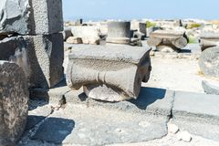 The remains of the column in the ruins of the Greek - Roman city of the 3rd century BC - the 8th century AD Hippus - Susita on the. Golan Heights near the Sea stock image