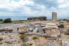The remains of the column in the ruins of the Greek - Roman city of the 3rd century BC - the 8th century AD Hippus - Susita on the. Golan Heights near the Sea Royalty Free Stock Images
