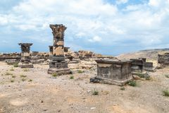 The remains of the column in the ruins of the Greek - Roman city of the 3rd century BC - the 8th century AD Hippus - Susita on the. Golan Heights near the Sea Stock Images