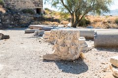 The remains of the column in the ruins of the Greek - Roman city of the 3rd century BC - the 8th century AD Hippus - Susita on the. Golan Heights near the Sea royalty free stock photography