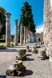 Remains of columns at the house of the faun in Pompeii Italy. Po Stock Photos