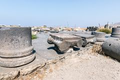 The remains of the columns in the ruins of the Greek - Roman city of the 3rd century BC - the 8th century AD Hippus - Susita on th. E Golan Heights near the Sea royalty free stock photos