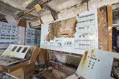 Command center building of Soviet Duga radar system in Chernobyl. Remains  of command center building in abandoned Soviet Duga Radar.   Duga was an over-the Royalty Free Stock Images