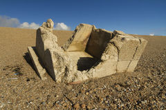 Remains of concrete Pillbox World War Two Pillbox. Stock Photo