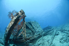 Remains of the container cargo of a shipwreck. Stock Images