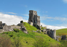 Remains of Corfe Castle in England Royalty Free Stock Photography