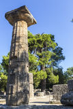 Remains of Corinthian column in Olympia, Greece Stock Image