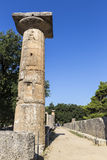 Remains of Corinthian column in Olympia, Greece Royalty Free Stock Images