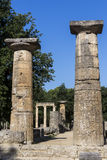 Remains of Corinthian column in Olympia, Greece Stock Photo