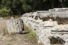 Remains of a Corinthian column in Olympia, Greece Stock Photo