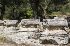 Remains of a Corinthian column in Olympia, Greece Royalty Free Stock Photos