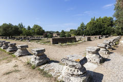 Remains of a Corinthian column in Olympia, Greece.  Royalty Free Stock Photography
