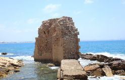 Remains of Crusader Harbor in Akko, Israel Stock Photo