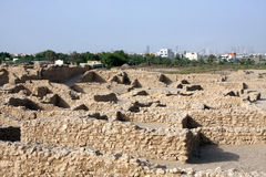 Remains das paredes da vila de Sarre, olhando nortes Foto de Stock