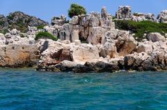 Remains de uma cidade antiga no mar Fotografia de Stock Royalty Free
