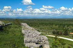 Remains of defense wall on Bribir fortress, Dalmatia Stock Photos