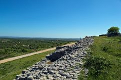 Remains of defense wall on Bribir fortress, Dalmatia Stock Photo