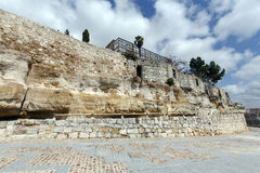 Remains of the defensive wall walk from the River Duero in Zamora, Spain Royalty Free Stock Images
