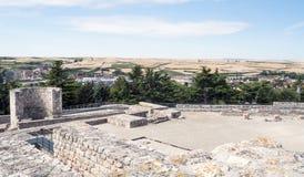 Remains delle pareti del castello di Burgos Fotografie Stock