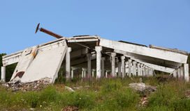 The remains of the destroyed industrial building Royalty Free Stock Image