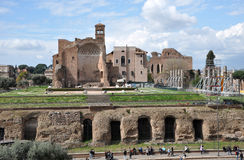 Remains of the Domus Aurea, built by Emperor Nero in Rome, Italy. ROME, ITALY - MARCH 15, 2016: Tourists visiting the Domus Aurea, built by Emperor Nero in Rome Stock Image