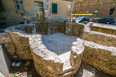 Remains of early Christian church in the center of Zadar city in Croatia Stock Photo