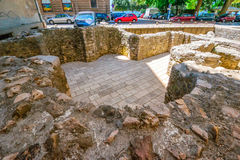 Remains of early Christian church in the center of Zadar city in Croatia Royalty Free Stock Photos