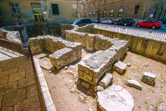 Remains of early Christian church in the center of Zadar city in Croatia Stock Photography