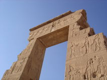 Remains of Egyptian temple with blue sky. Near Aswan Lake in Egypt Royalty Free Stock Photos