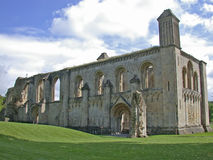 Remains of English abbey. A view of the ruined remains of an ancient abbey in Glastonbury, England Royalty Free Stock Photo