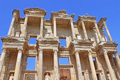 The remains of the enormous Library of Celsus Stock Images