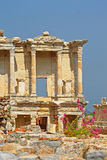 The remains of the enormous Library of Celsus in Turkey Royalty Free Stock Photo